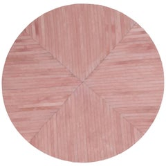 Stunning Colored Round La Quinta Pink Cowhide Rug by Art Hide