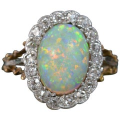 Stunning Colourful Opal and Diamond 18 Carat Gold Cluster Ring
