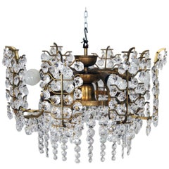 Stunning Crystal Glass Chandelier Nine Bulb Sockets Bakalowits Vienna, 1950