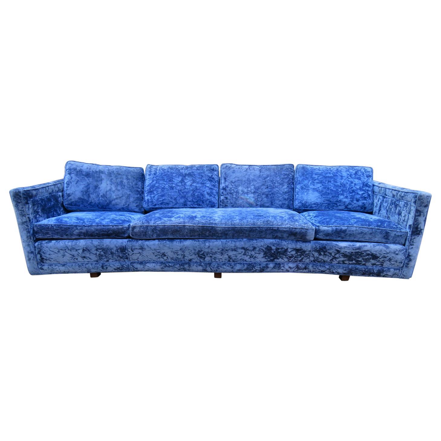 Stunning Curved Erwin Lambeth Sled Leg Sofa Mid-Century Modern