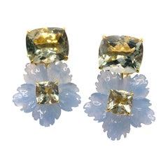 Stunning Cushion-cut Prasiolite and Carved Blue Quartzite Flower Drop Earrings