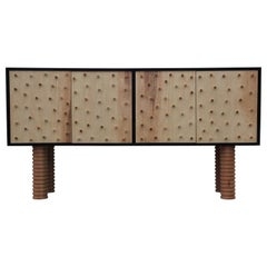 Stunning Custom Brutalist Postmodern Peg Sideboard / Cabinet