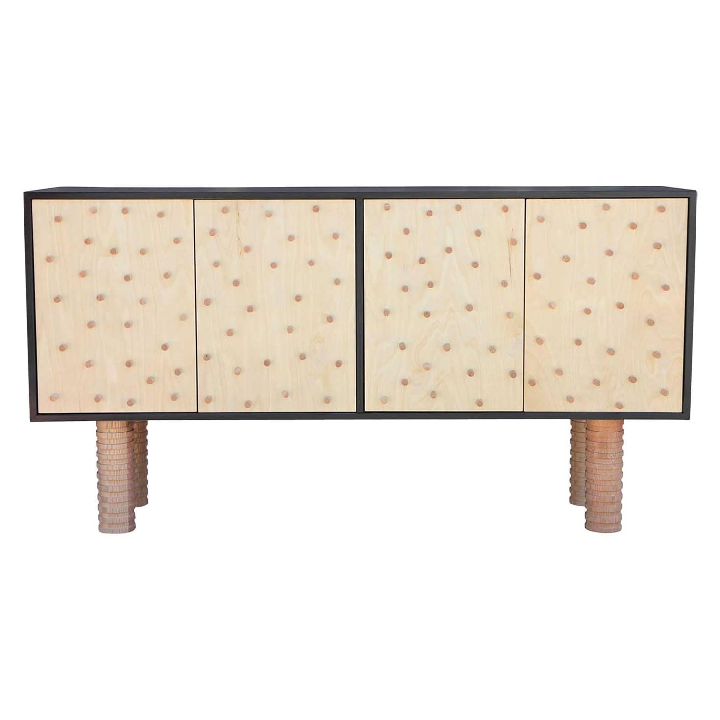 Stunning Custom Brutalist Postmodern Peg Sideboard or Cabinet