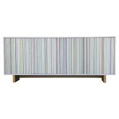Stunning Custom ModernHand Painted Stripe Op Art Credenza / Sideboard Cruz Diez