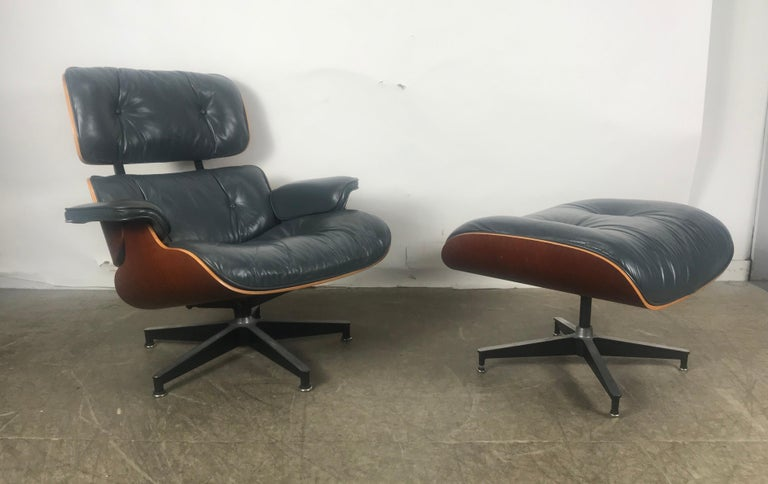 Stunning Custom Order Lounge Chair and Ottoman by Charles Eames, Blue Leather In Good Condition For Sale In Buffalo, NY