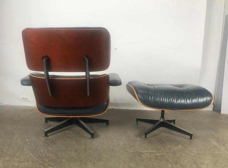 Contemporary Stunning Custom Order Lounge Chair and Ottoman by Charles Eames, Blue Leather For Sale