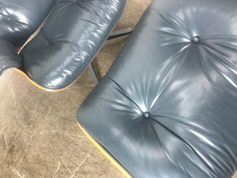 Stunning Custom Order Lounge Chair and Ottoman by Charles Eames, Blue Leather For Sale 2