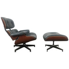 Stunning Custom Order Lounge Chair and Ottoman by Charles Eames, Blue Leather