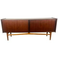 Stunning Danish Modern Two-Tone Teak Credenza / Sideboard