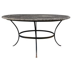 Stunning Dark Marble Top Iron Framed Table for 6-France 1900