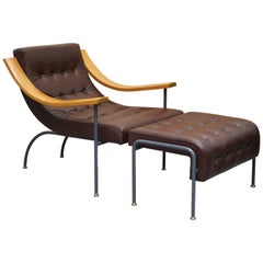 Stunning David Linley St Moritz Lounge Armchair & Ottoman Italian Brown Leather