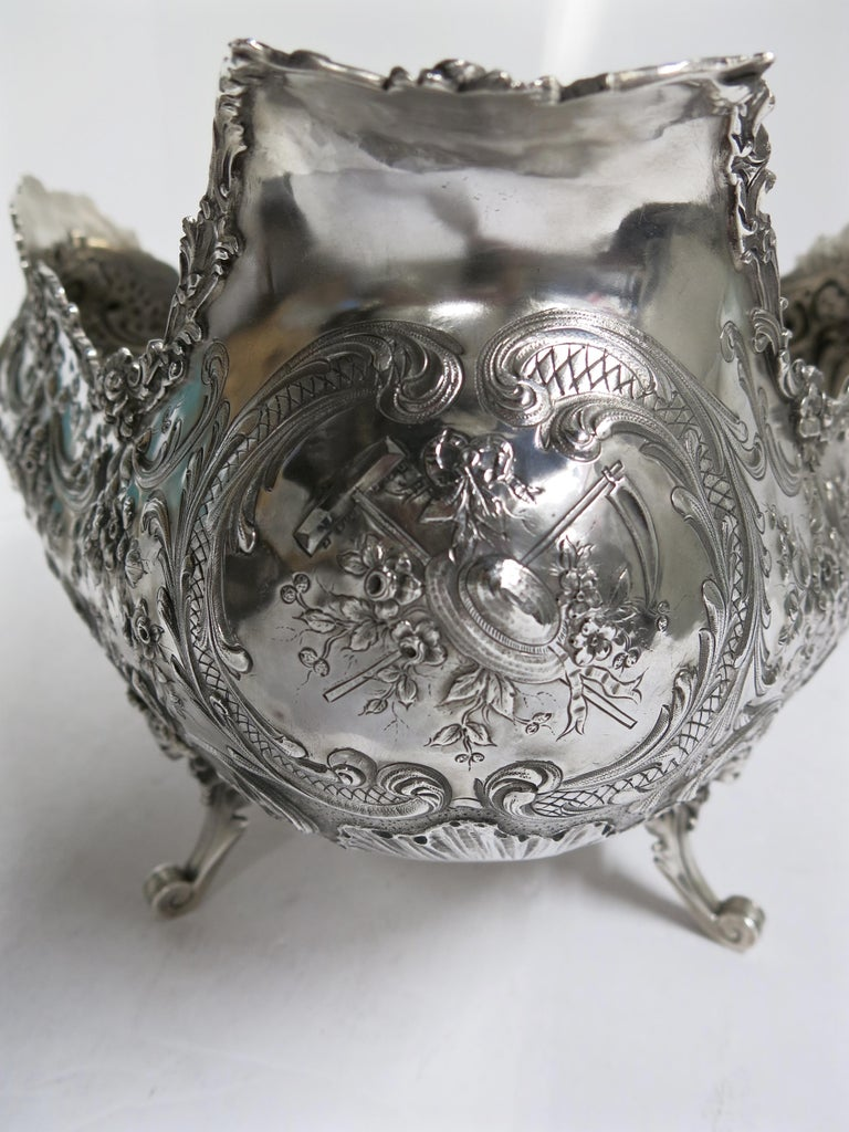 19th Century Stunning and Decorative, Large Oval Sterling Silver Antique French Centerpiece For Sale