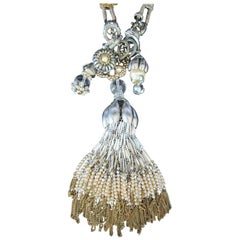 Stunning Designer Dangling Tassels and Charms Necklace by Miriam Haskell
