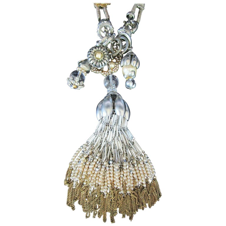 Stunning Designer Dangling Tassels and Charms Necklace by Miriam Haskell For Sale
