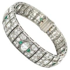 Stunning Diamond and Emerald Art Deco Bracelet in Platinum 950