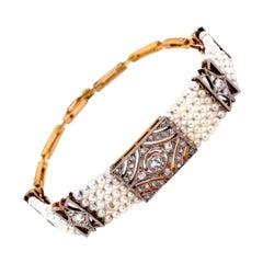 Stunning Diamond and Pearl Edwardian Platinum Bracelet Estate Fine Jewelry