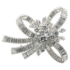 Stunning Diamond Bow Brooch / Clip in Platinum 950 and White Gold 18K
