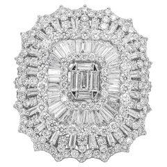 Stunning Diamond Ring 7.80 Carat 18 Karat White Gold