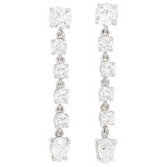 Stunning Diamond-Set Platinum Chandelier Earrings