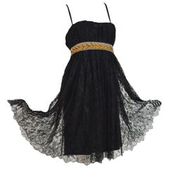 Stunning Dolce & Gabbana Black Corset French Lace Laurel Evening Cocktail Dress