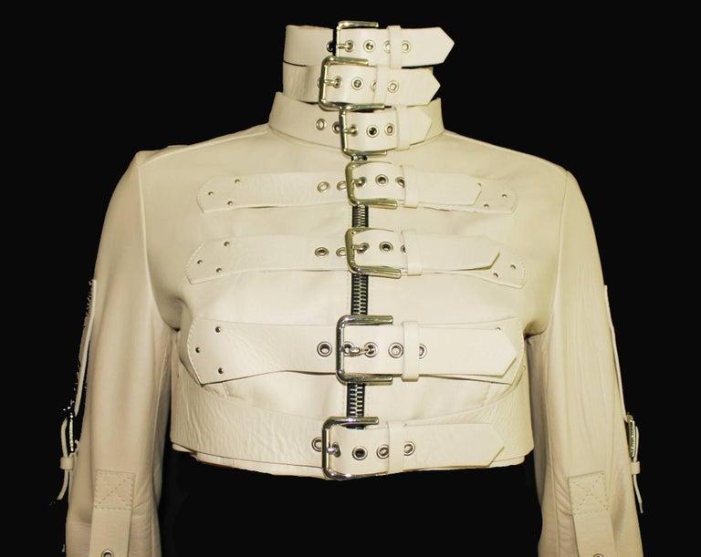Stunning Dolce & Gabbana Bondage Buckle Leather Jacket Skirt Suit Ensemble For Sale 1
