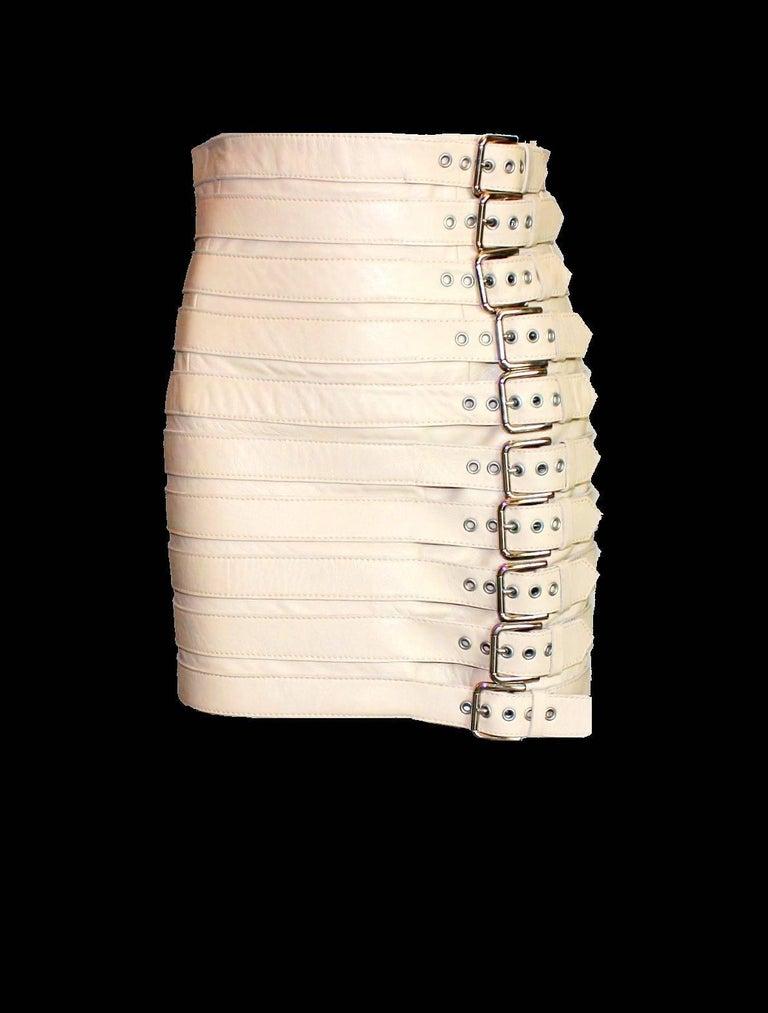 Stunning Dolce & Gabbana Bondage Buckle Leather Jacket Skirt Suit Ensemble For Sale 2