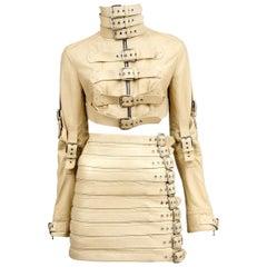 Stunning Dolce & Gabbana Bondage Buckle Leather Jacket Skirt Suit Ensemble