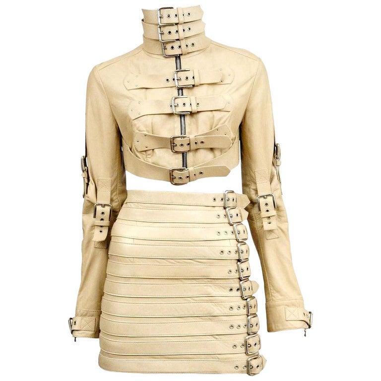 Stunning Dolce & Gabbana Bondage Buckle Leather Jacket Skirt Suit Ensemble For Sale