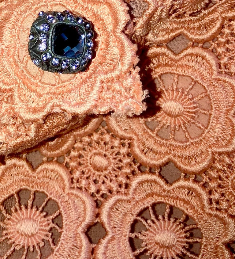 Orange Stunning Dolce & Gabbana Coral Eyelet Shift Dress with Jeweled Button Details For Sale