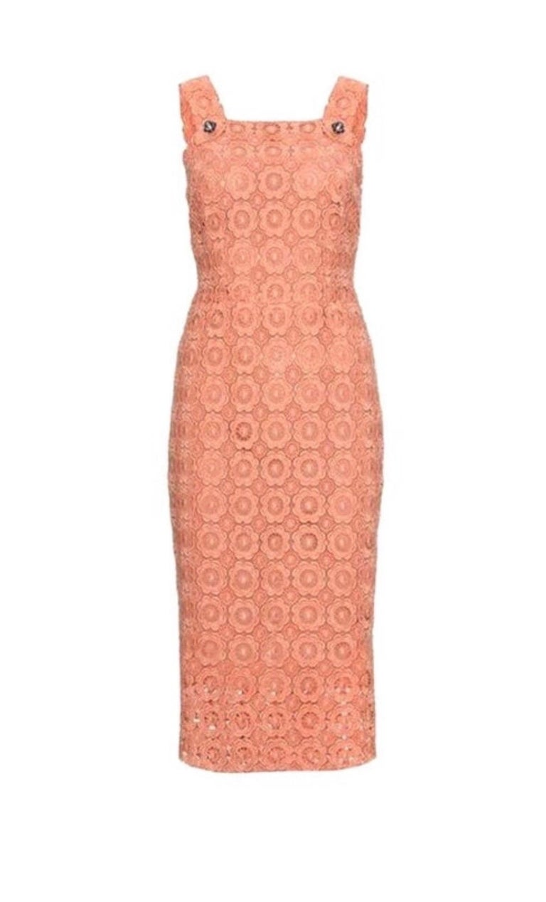 Stunning Dolce & Gabbana Coral Eyelet Shift Dress with Jeweled Button Details For Sale 1