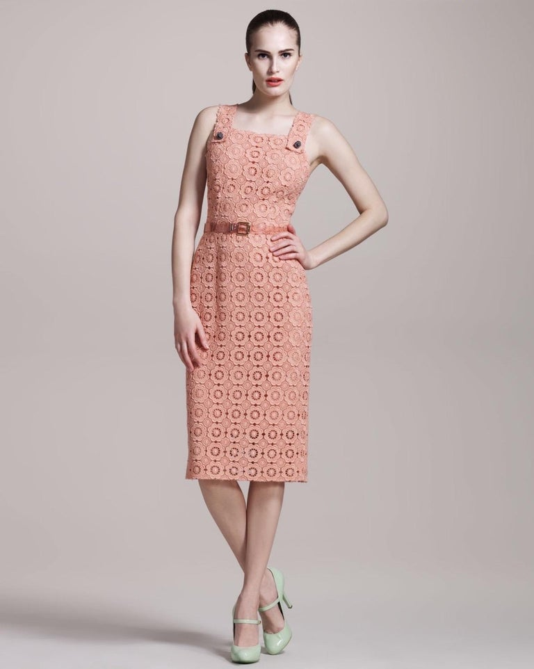 Stunning Dolce & Gabbana Coral Eyelet Shift Dress with Jeweled Button Details For Sale 2