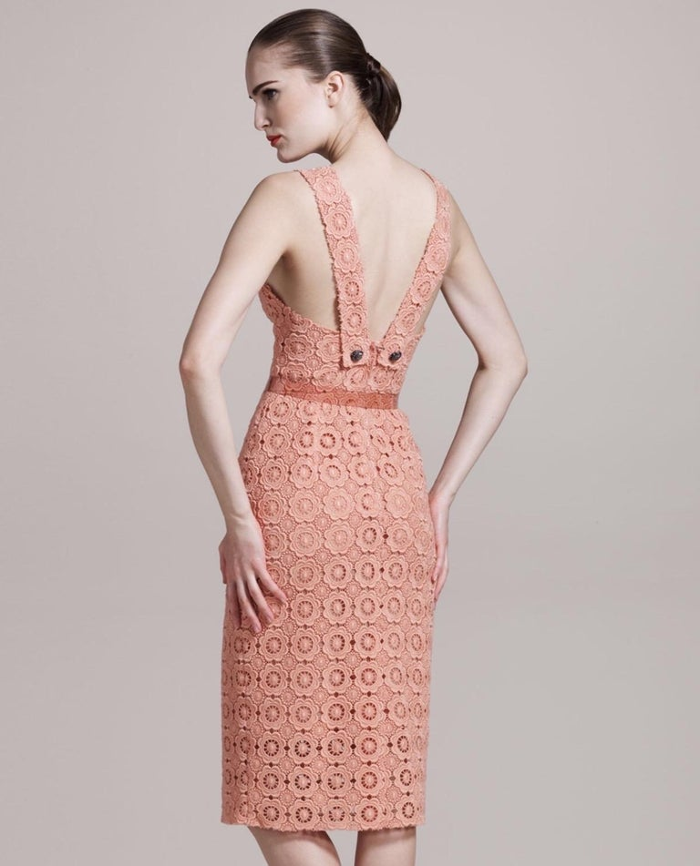 Stunning Dolce & Gabbana Coral Eyelet Shift Dress with Jeweled Button Details For Sale 3