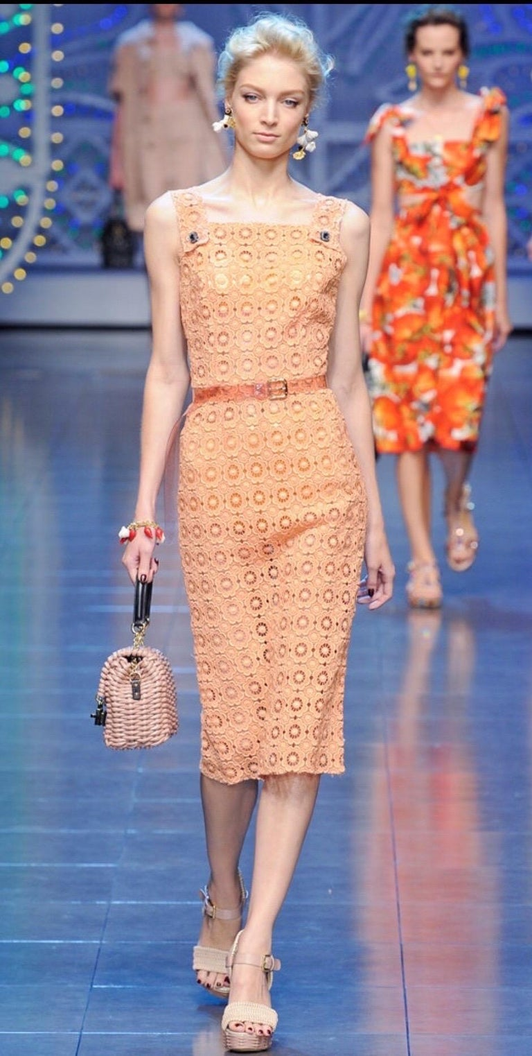 Stunning Dolce & Gabbana Coral Eyelet Shift Dress with Jeweled Button Details For Sale 4