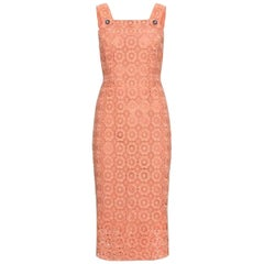 Stunning Dolce & Gabbana Coral Eyelet Shift Dress with Jeweled Button Details
