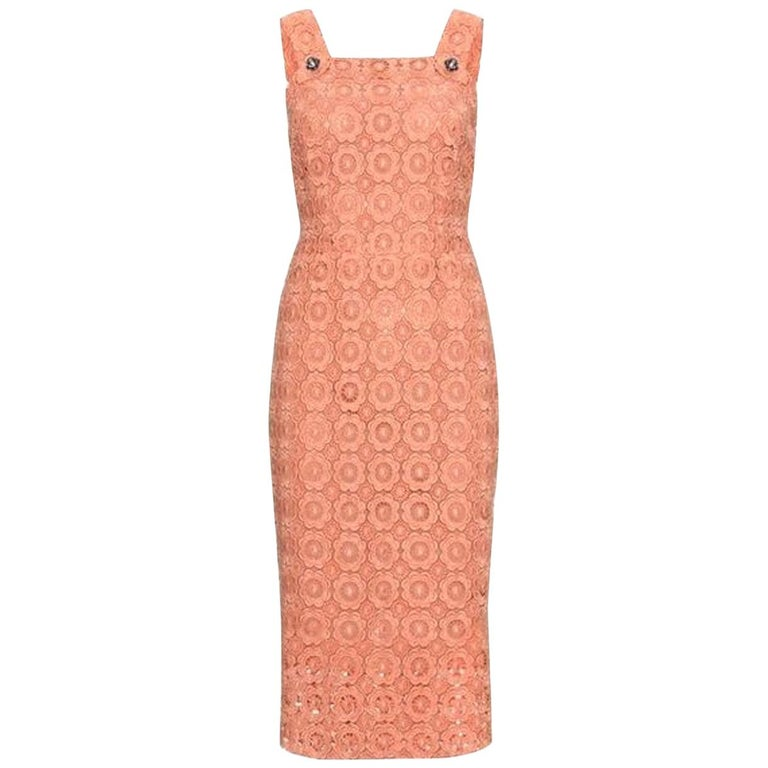 Stunning Dolce & Gabbana Coral Eyelet Shift Dress with Jeweled Button Details For Sale