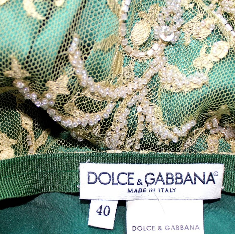 Stunning Dolce & Gabbana Demi-Couture Hand-Embroidered Lace Fringe Evening Skirt For Sale 1