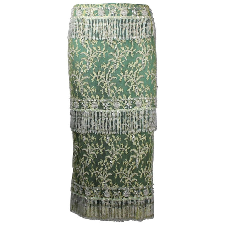 Stunning Dolce & Gabbana Demi-Couture Hand-Embroidered Lace Fringe Evening Skirt For Sale