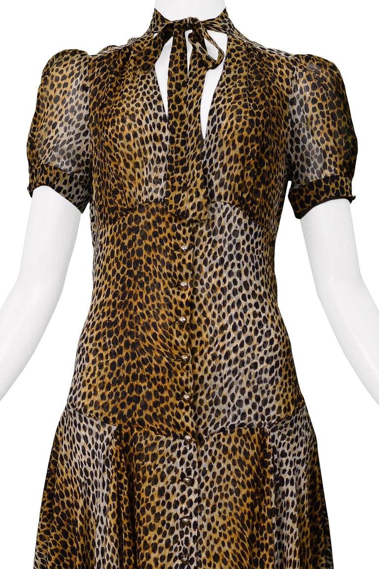 Black Stunning Dolce & Gabbana D&G Leopard Print Silk Evening Gown For Sale