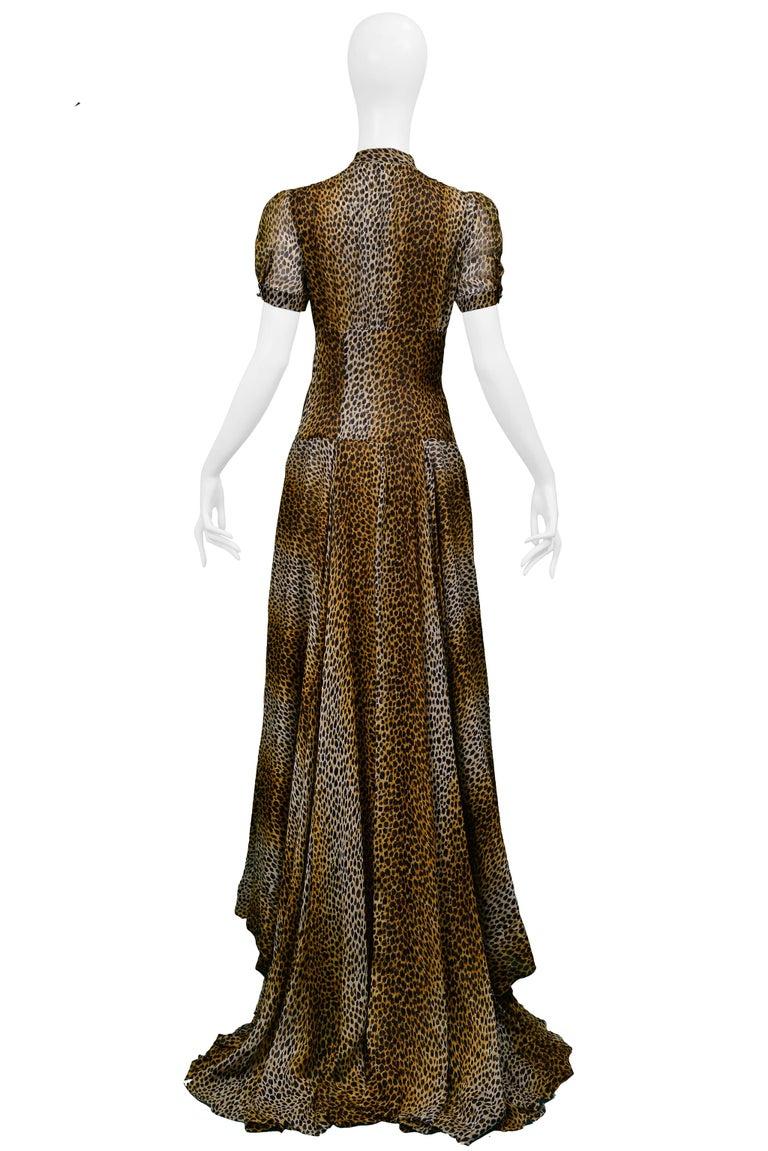 Stunning Dolce & Gabbana D&G Leopard Print Silk Evening Gown For Sale 1