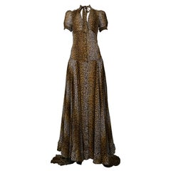 Stunning Dolce & Gabbana D&G Leopard Print Silk Evening Gown