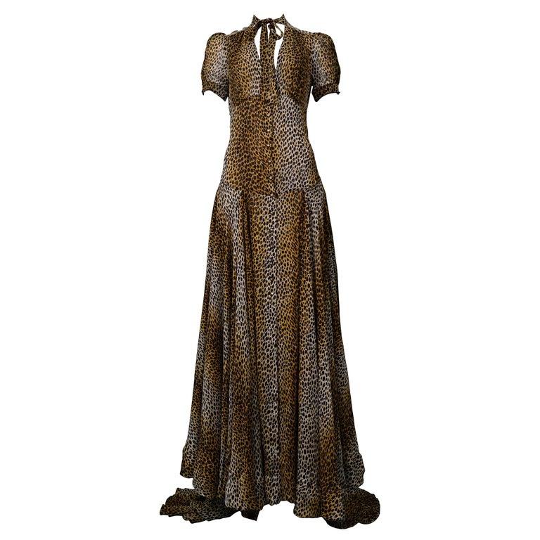 Stunning Dolce & Gabbana D&G Leopard Print Silk Evening Gown For Sale