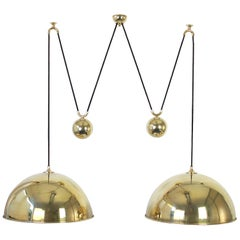 Stunning Double Brass Pendant with Adjustable Counter Weights by Florian Schulz