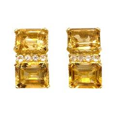 Stunning Double Emerald-cut Citrine Vermeil Earrings