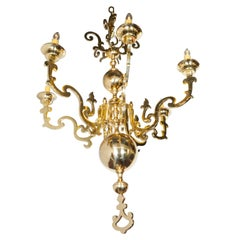 Stunning Dutch Baroque Style Six-Arm Heavy Brass Chandelier