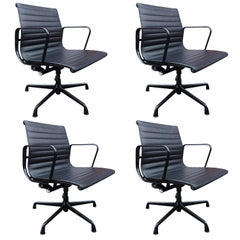 Stunning Eames Aluminum Group Chairs for Herman Miller Black on Black