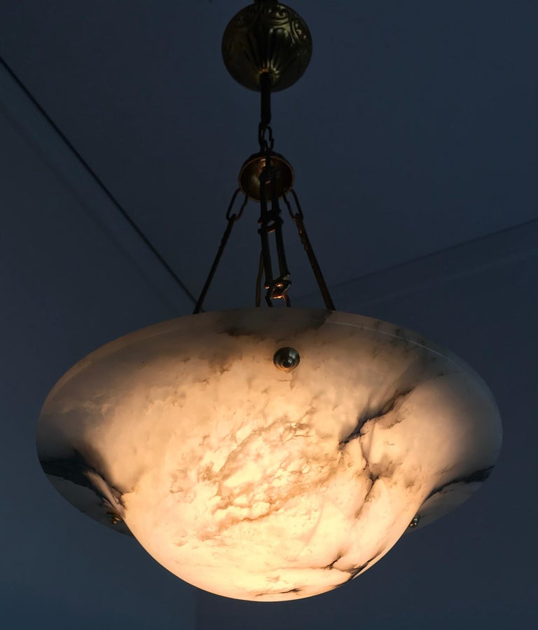 Stunning Shape 1900s Arts & Crafts White and Black Veins Alabaster Pendant Light For Sale 3