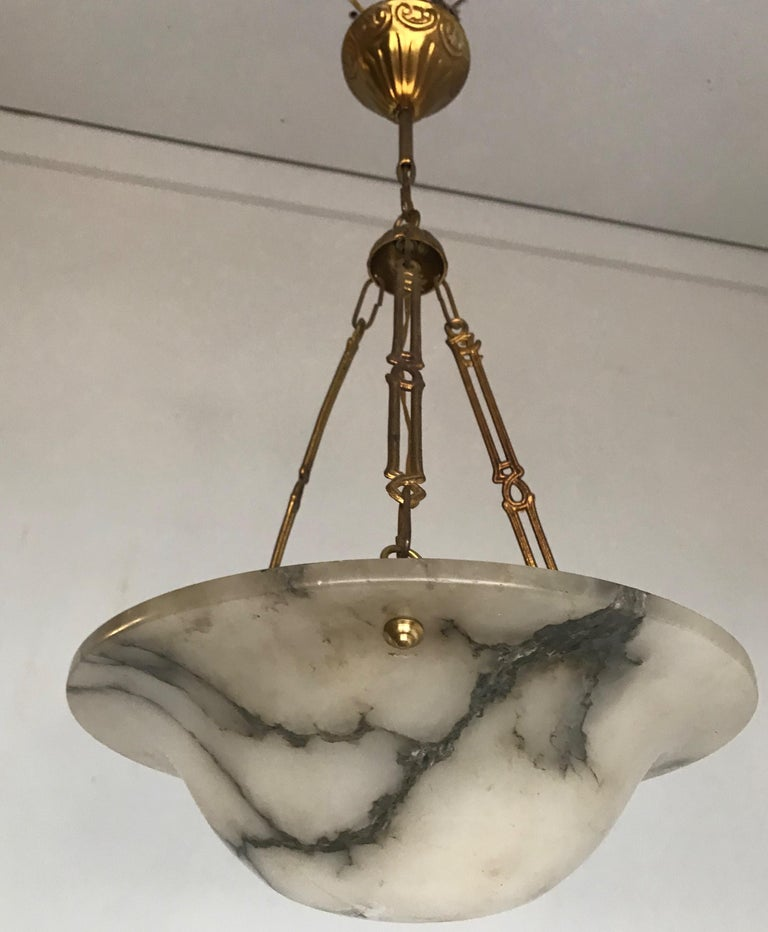 Stunning Shape 1900s Arts & Crafts White and Black Veins Alabaster Pendant Light For Sale 5
