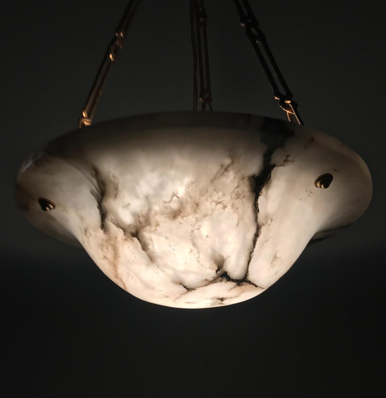 Stunning Shape 1900s Arts & Crafts White and Black Veins Alabaster Pendant Light For Sale 12