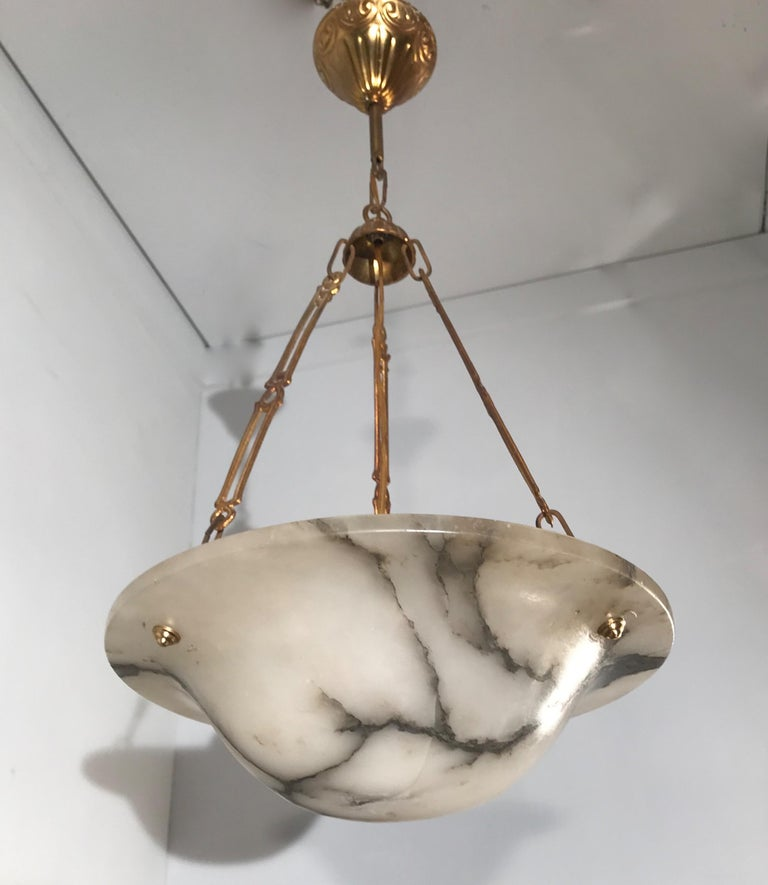 Hand-Carved Stunning Shape 1900s Arts & Crafts White and Black Veins Alabaster Pendant Light For Sale