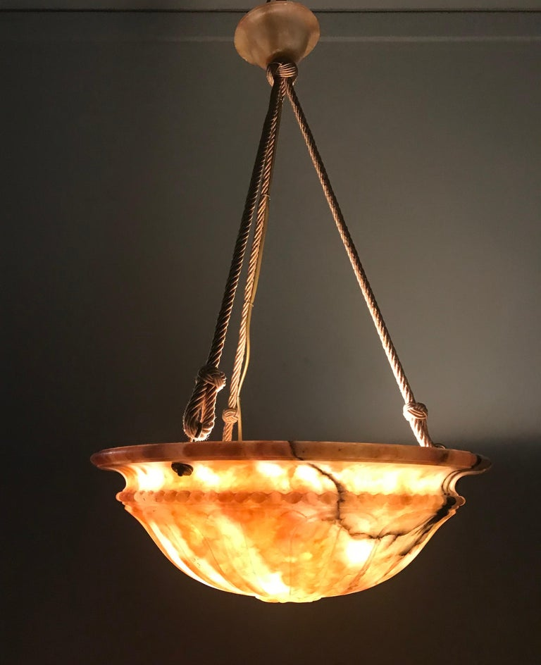 Cord Stunning Shape & Colorful Early 1900 Art Deco Alabaster Pendant Light Chandelier For Sale